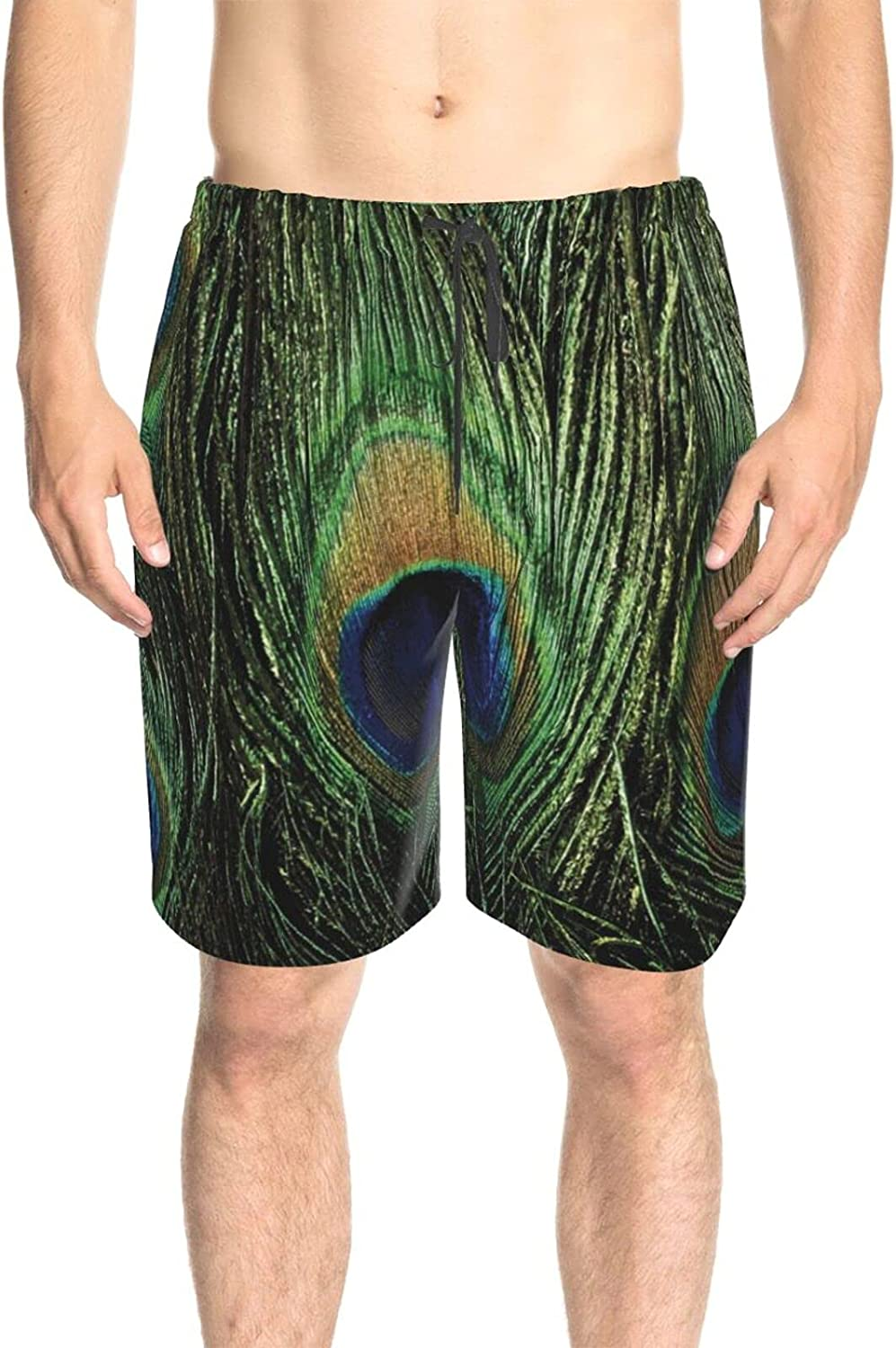 JINJUELS Mens Swim Trunks Peacock Tail Feathers Swim Boardshorts Fast Dry Fashion Swimming Trunks with Pockets