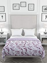 Clasiko Reversible Double Bed King Size Comforter/Duvet for Winters; Color - Pink & Graphic Grey Leaves; Fabric - Micro Co...