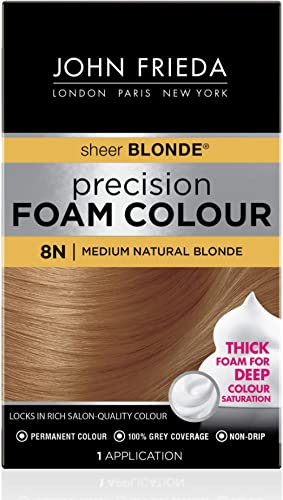John Frieda Precision Foam Color, Medium Natural Blonde 8N, Full-coverage Hair Color Kit, with Thick Foam for Deep Co...