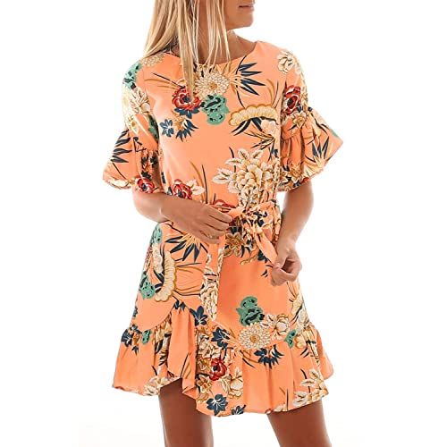 70f60ab538b ZKESS Womens Casual Short Sleeve Floral Tie Waist Knee-Length Party Summer  Short Mini Dress
