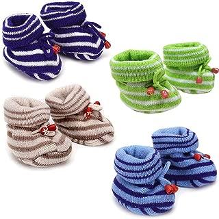 KidBee Born Baby Woolen Booties Printed Soft (0-12 Months) Set of 4