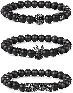 Milacolato 3Pcs Crown King 8mm Charm Bead Bracelet para Hombres Mujeres Pulsera De Cuentas De Piedra De Ónix Mate Negro Na...