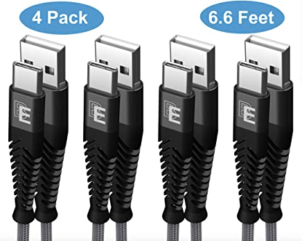 USB Type C Cable, Beam Electronics (4-Pack 6.6FT) USB A to USB-C Fast Charging Nylon Braided USB C Cable for Samsung Galaxy S10 S9 S8 Plus Note 9 8, Moto Z, LG V30 V20 G5, Nintendo Switch (Grey)