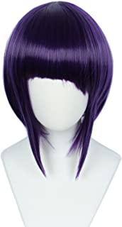 Linfairy Anime Cosplay Wig Short Halloween Costume Hero Wig (purple+black)