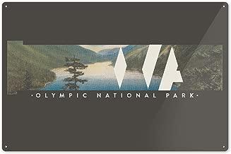Lantern Press Olympic National Park, Washington - Washington State with Vintage Postcard 82723 (6x9 Aluminum Wall Sign, Wall Decor Ready to Hang)