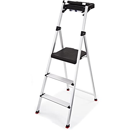Rubbermaid RMA-3T 3-Step Lightweight Aluminum Step Stool with Project Tray, 225-pound Capacity, Silver