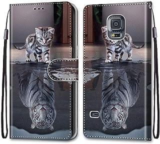 جراب محفظة ملون لهاتف Samsung Galaxy S5، تصميم إبداعي رائع من جلد البولي يوريثان مزود بفتحات للبطاقات وحزام معصم