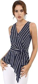 Allegra K Women's Striped Sleeveless V Neck Tie Waist Asymmetric Hem Wrap Peplum Top
