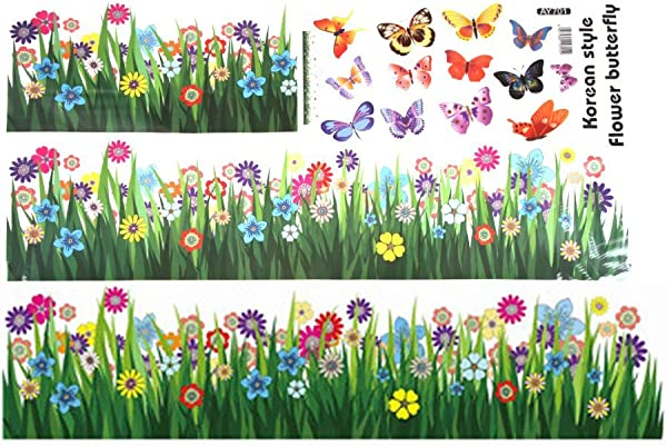 Whitelotous Butterfly Grass Flower Sticker Kids Room Wall Decal Removable Home Decor