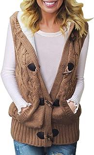 Women Hooded Sweater Vest Knit Cardigan Outerwear Coat