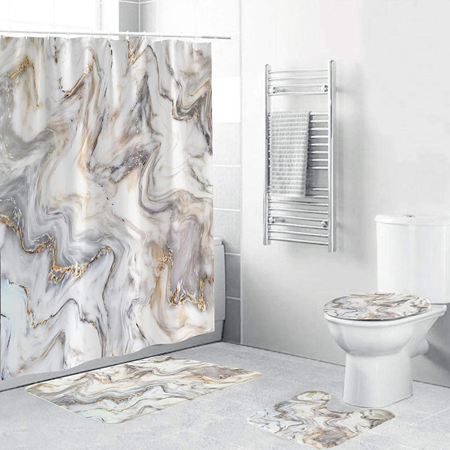 ZHEXI Marble Quality All items in the store inspection Bathroom Shower Curtain Bath Waterproof Carpet Set