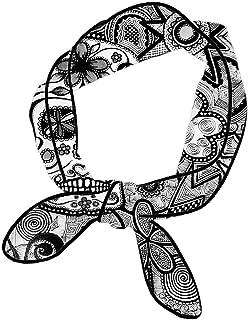 Head Scarf Girls and Women Narrow Long Bandanas, 3D Print Vintage and Fashion Neck Scarf Hairband, Multipurpose for Bag Hat Tote Ribbon Decor, Black White Doodle Sugar Skull