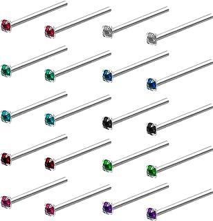Kurtzy Naso Borchie (20 Pcs) - Set di Gioielli Piercing al Naso in Cristallo Senza Nickel da 12mm con Custodia - Gioielli ...