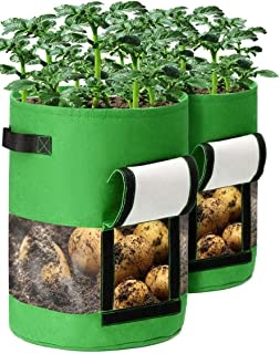 Potato Grow Bags, 2 Pack 10 Gallon Plant Growing Bags with Flap and Handles for Potato Tomato Carrot Onion Vegetable Growi...