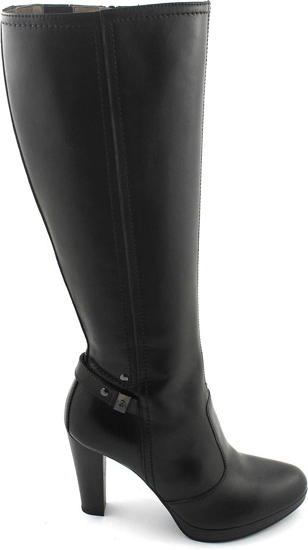 19801 Nero Stivali Donna Pelle Zip Tacco