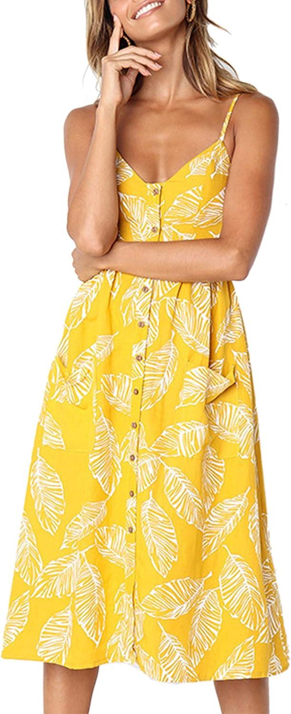 Finally resale start Angashion Women's Dresses-Summer Floral Spaghetti Popular product Strap Bohemian
