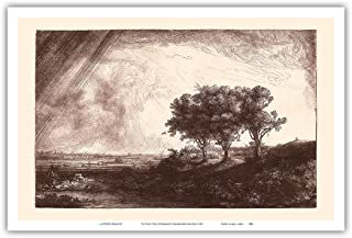 Pacifica Island Art The Three Trees - From an Original Etching and Drypoint by Rembrandt Harmenszoon van Rijn c.1643 - Master Art Print - 12in x 18in