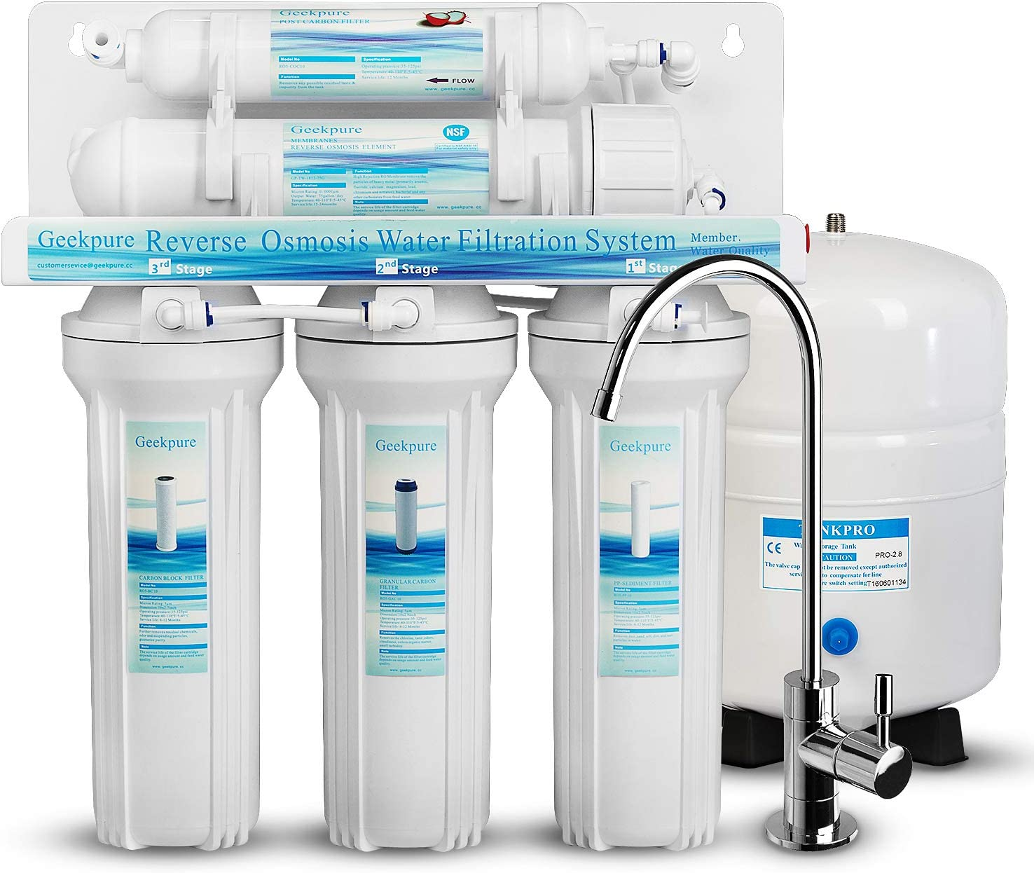 Geekpure 5-Stage Reverse Osmosis -Universal Filter Over Philadelphia Mall item handling ☆ Water System