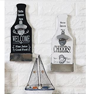SRHOME Wall Mounted Bar Beer Bottle Opener With Cap Catcher-Fashion Classic Vintage Wall Cap Catching Beer Bottle Openers-Easy to Hang and Fun to Use Wall Decoration (White)