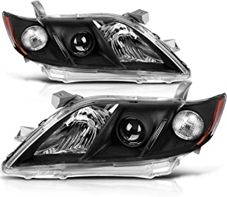 Headlight Assembly for 2007 2008 2009 Toyota Camry Headlamps Replacement Black Housing with Amber Reflector Clear Lens (Driver and Passenger Side)