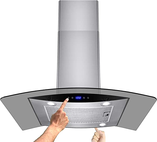 AKDY New 36 European Style Island Mount Stainless Steel Range Hood Vent Touch Sensor Control W Both Side Accessible Control