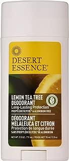 Desert Essence Lemon Tea Tree Deodorant - 2.5 Oz - Long Lasting Protection - Propylene Glycol & Aluminum Free - Witch Hazel - Botanical Oils - Neutralizes Odor - Citrus Scent