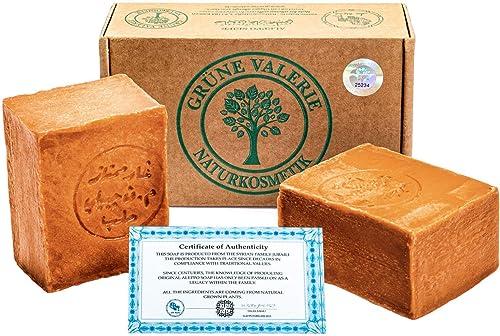 Grüne Valerie® Set de jabón original de Alepo 2 x 200g (400g) con 40%/60% de aceite de laurel/aceite de oliva, valor ...