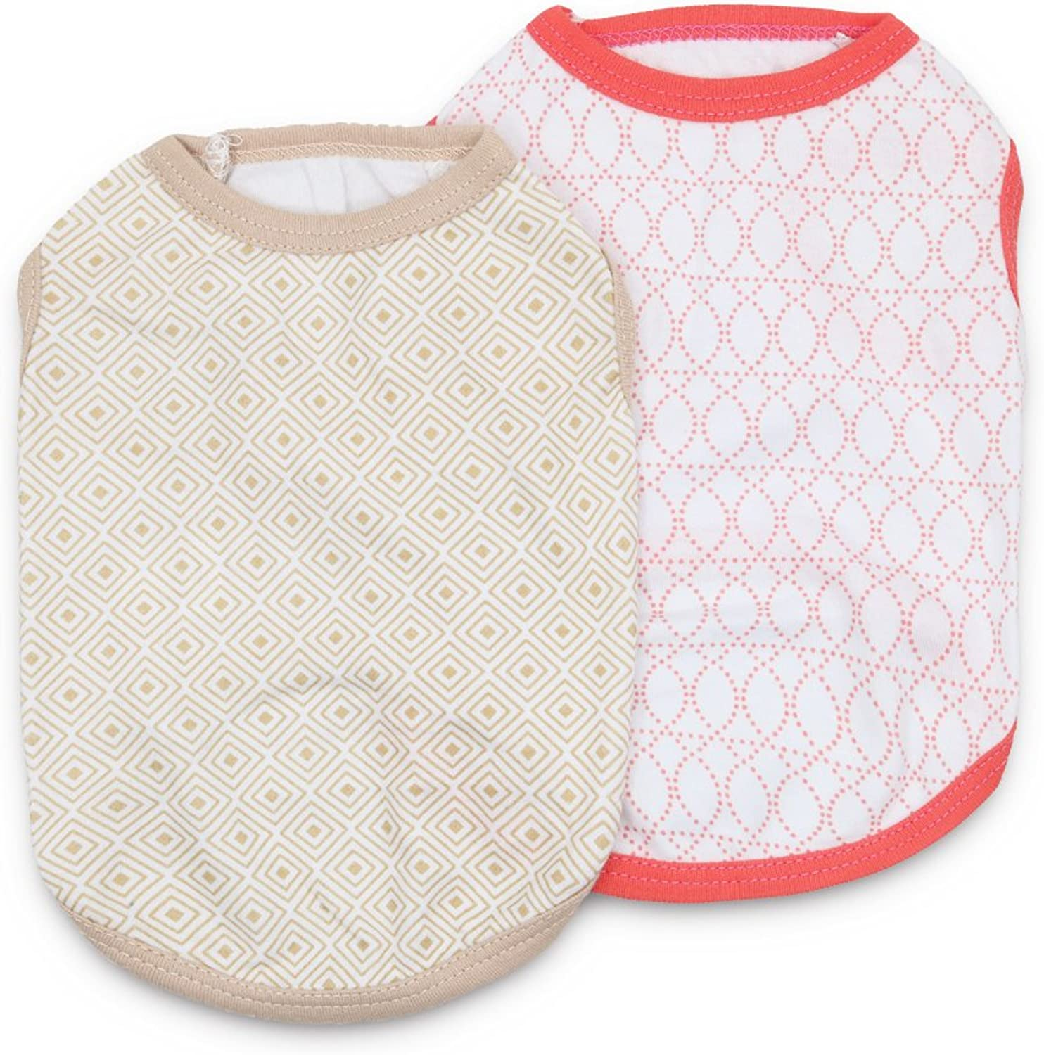 DroolingDog Dog Shirts Cotton Dog Clothes Summer Cat Vest Pet T Shirt for Small Dogs Boy, Small, Pack of 2
