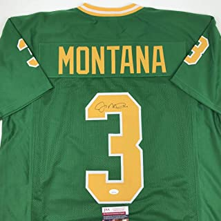 Autographed/Signed Joe Montana Notre Dame Green College Football Jersey JSA COA