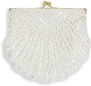 Shell Beaded Evening Clutch, White