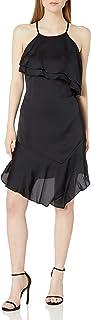 bebe Women's Satin Slip Dress with Ruffle Front