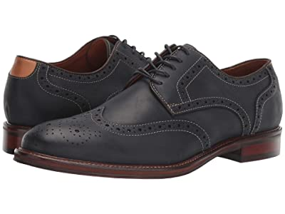 Johnston & Murphy Warner Wingtip (Navy Oiled Full Grain) Men