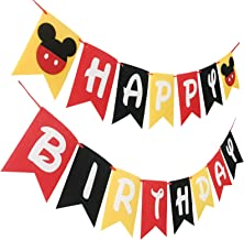 Mickey Mouse Happy Birthday Party Banner Flags for Kid Disney Birthday Party Favors Decoration.