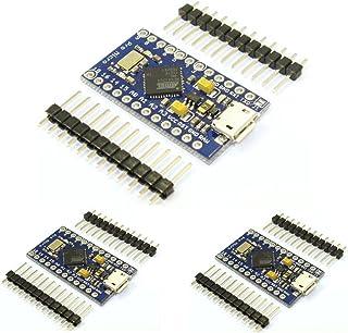 HiLetgo® 3pcs Pro Micro Atmega32U4 5V 16Mhz Bootloadered IDE Micro USB Pro Micro Development Board Microcontroller Compati...