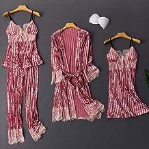 Dames Badjas Dames Pyjama Pak 4 Stks Gewaad Sexy Fluwelen Nachtkleding Lente Herfst Kimono Gown Homewear Nachtjapon