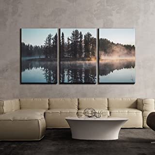 wall26 - 3 Piece Canvas Wall Art - Trees with Reflection on a Perfectly Smooth Lake - Modern Home Decor Stretched and Framed Ready to Hang - 16