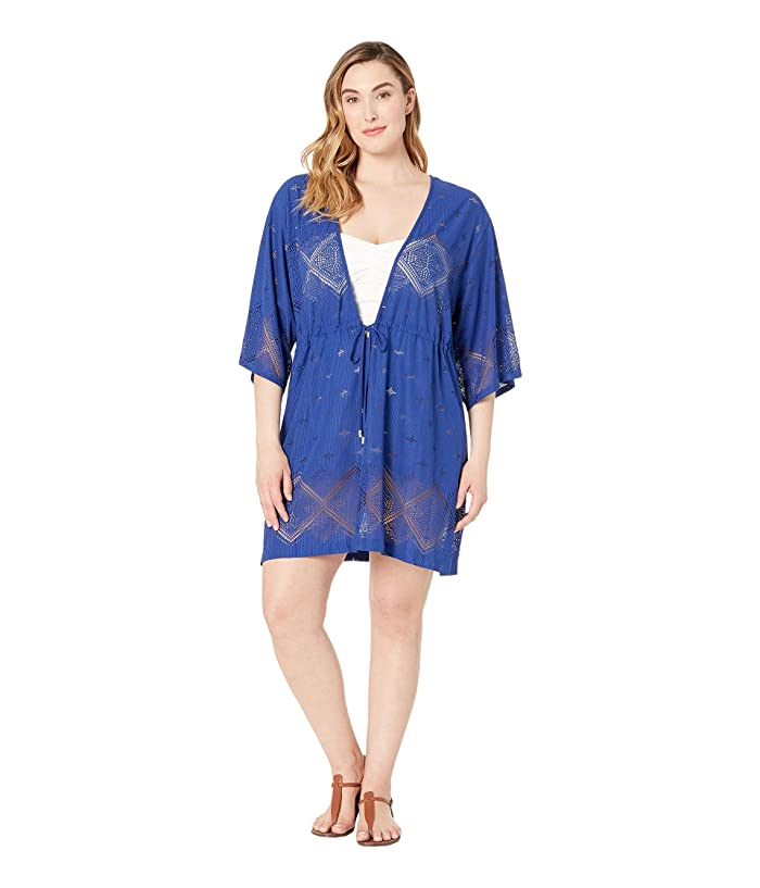 DOTTI Plus Size Santorini Tile Tunic Cover-Up (Navy) Women
