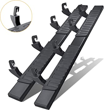 /& Steps for 2007-2018 Silverado//Sierra Crew Cab,A Pair Running Boards for Silverado Crew cab Including in 8 Brackes and Plastic Covers N-X 6 Inches Running Boards