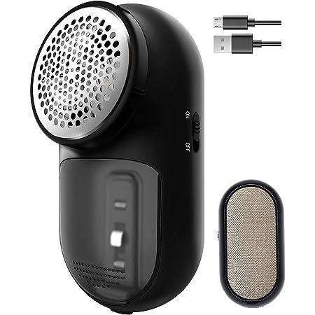 AIRMSEN Quitapelusas Eléctrico, 2 en 1 Quitapelusas para Ropa USB Recargable con Cepillo de Pelusa, 3 Tamaños de Agujeros, Adecuado para Todas Las Prendas, Incluye Bolsa de Viaje y Cepillo de Limpieza