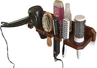TESLYAR Wall Mount Hair Dryer Hanging Rack Organizer Bathroom Hair Care Styling Tool Organizer Storage Flat Irons Curling Wands Hair Straighteners Hardware Included