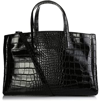 Olivia Sac à Main Femme Cuir, Sac en Cuir façon Crocodile déclinent Le Chic So Croco Porte Main, Epaule 38X25X16 cm Noir F, Cuir
