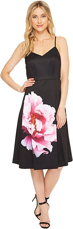 Leah - Sleeveless Flower Panel A-Line Dress