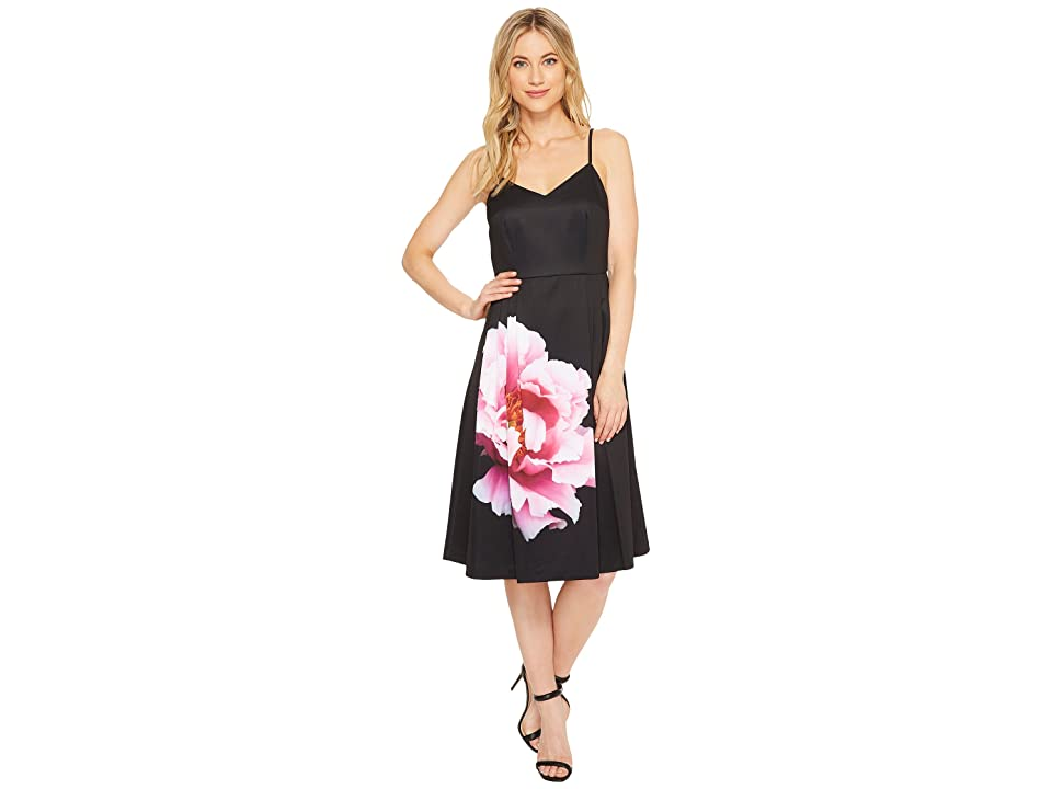 CeCe Leah Sleeveless Flower Panel A-Line Dress (Rich Black) Women
