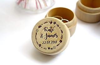 Scatola porta fedi matrimonio, scatola di legno personalizzata con testo, nomi e data del matrimonio, stile rustico, floreale