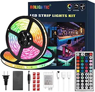 Best ROLiGHTiC RGB Led Light Strip Kit,32.8ft (10M) 5050 300LEDs,DC 12V Waterproof Led Strip Lights with 44Key Remote Controller and Power Adapter for Home Bedroom Kitchen Ceiling Party Christmas Review