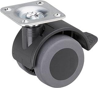 Metafranc Dubbele rol Ø 40 mm - vastzetter - 38 x 38 mm plaat - TPR-wiel - zacht loopvlak - glijlager - 30 kg draagkracht/...