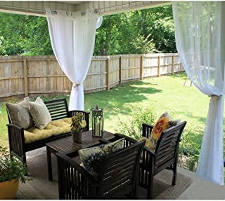 RYB HOME Outdoor Indoor Sheer Curtain Drape for Patio, Outdoor Gazebo Curtain Voile Privacy Curtain for Porch, 1 Piece with 1 Tieback Rope, 54 inch Wide x 108 inch Long, White