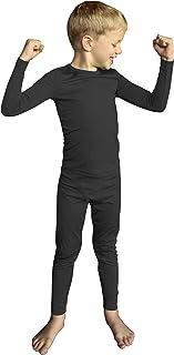 Sponsored Ad - POPINJAY Boys Fleece Thermal Set - Kids Long Sleeve Shirt and Pants Underwear