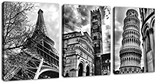 Wall Art Famous Architecture Canvas Picture Framed Ready to Hang Modern Building Canvas Prints Artwork for Home Office Decoration - Eiffel Tower Leaning Tower of Pisa Italy 12