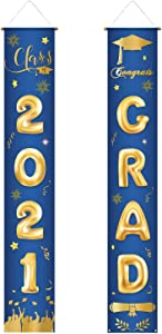 Funnytree 2021 Graduation Party Congrats Grad Welcome Porch Sign Boy Royal Blue Gold Glitter Outdoor Indoor Banner Polyester Wall Hanging Flags Decors Windproof Home School Office Events Supplies 2pcs